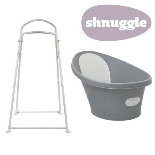 Shnuggle Baby Bath with Bum Support & Bath Stand - Slate - NEW STYLE