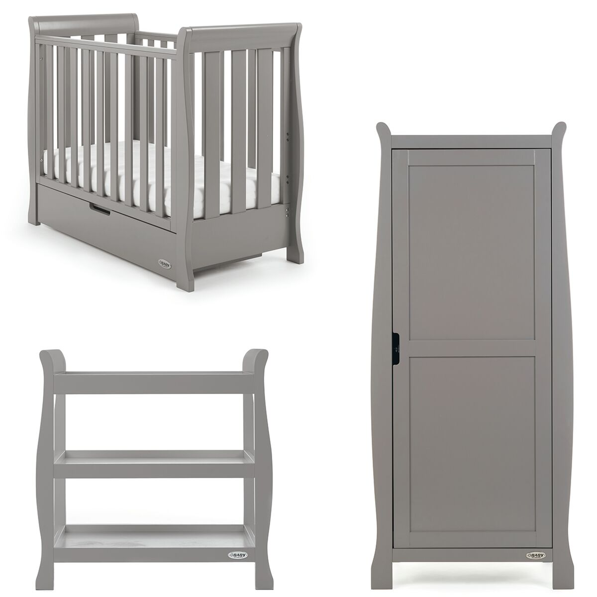 Obaby Stamford Space Saver 3 Piece Room Set - Taupe Grey