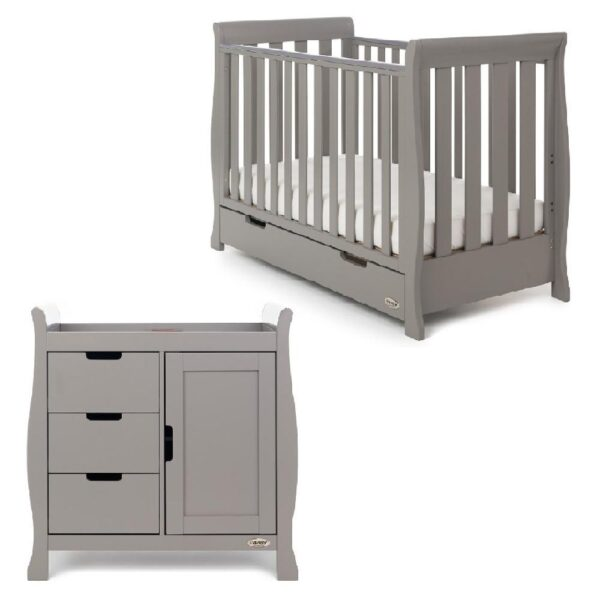 Obaby Stamford Mini Sleigh 2 Piece Room Set - Taupe Grey - EASTER OFFER