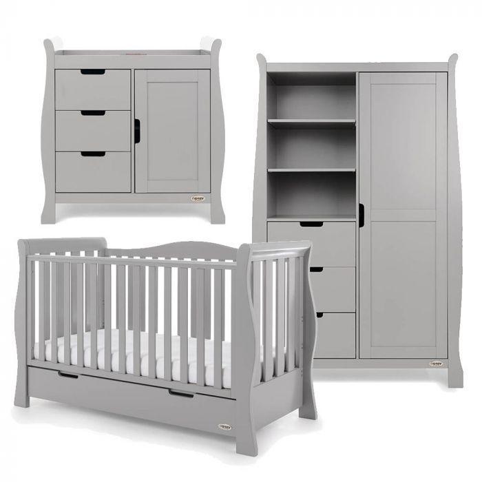Obaby Stamford Luxe 3 Piece Room Set - Warm Grey