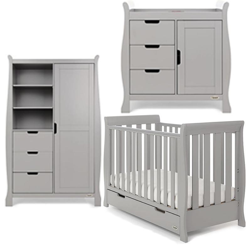Obaby Stamford Mini Sleigh 3 Piece Room Set - Warm Grey - EASTER OFFER