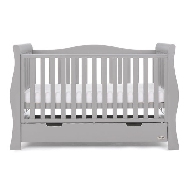 Obaby STAMFORD LUXE SLEIGH COT BED – WARM GREY