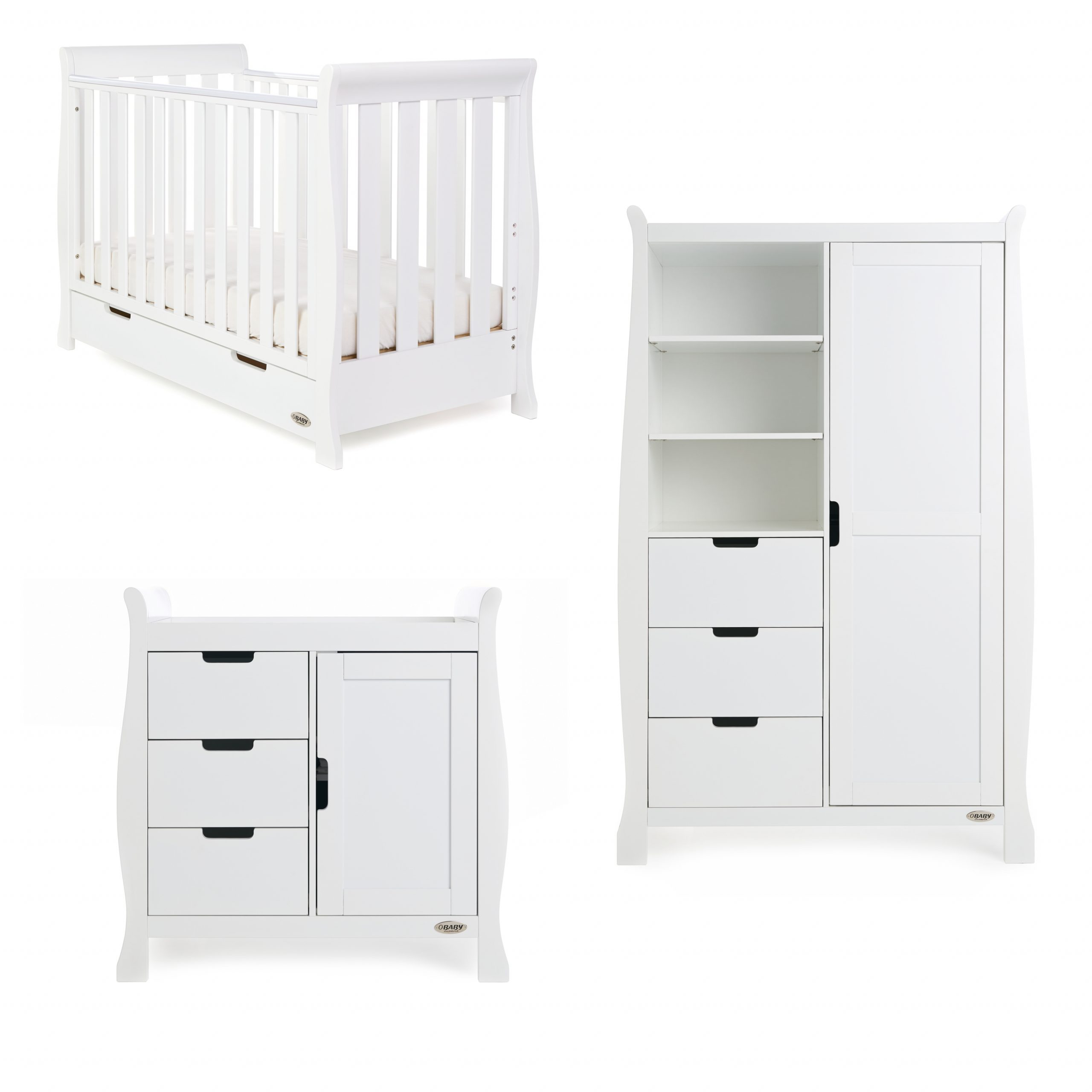 Obaby Stamford Mini Sleigh 3 Piece Room Set - White - EASTER OFFER