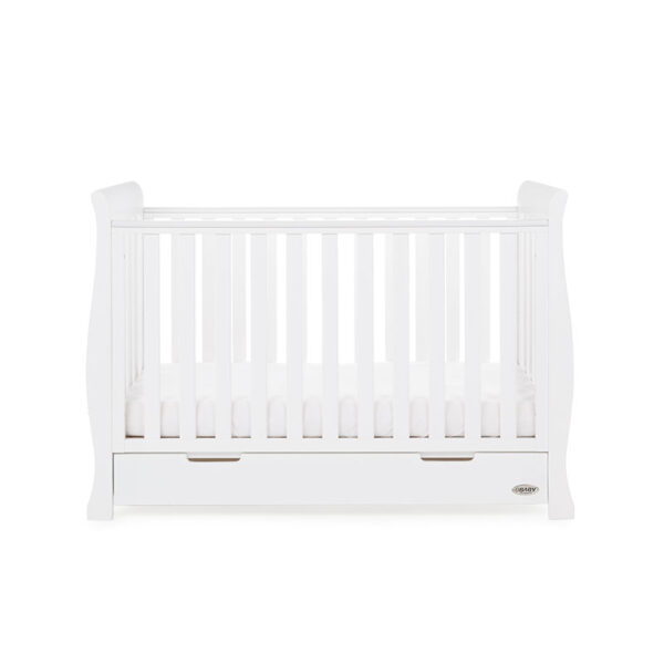 Obaby STAMFORD MINI SLEIGH COT BED – WHITE - EASTER OFFER