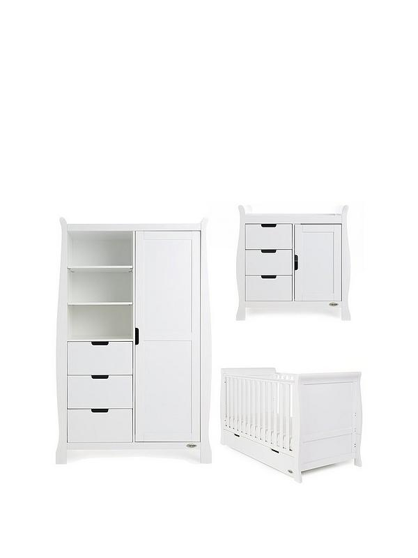 Obaby Stamford Classic Sleigh 3 Piece Room Set - White - EASTER OFFER